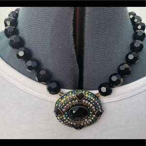 Heidi Daus necklace EUC black faceted beads